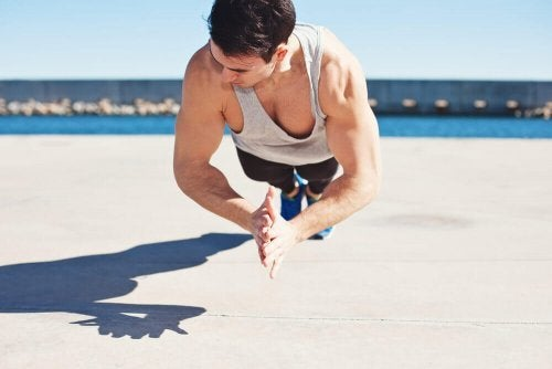 Clap you hands as fast as possible when doing clap push-ups.