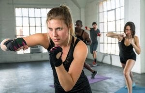Woman doing intense cardio to stimulate hormone production