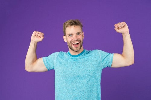 Man with arms up in the air