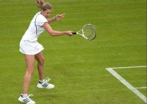 Steffi Graf hitting the ball.