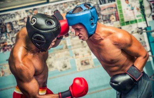 Two men sparring in a ring with helmets and boxing gloves boxing beginner