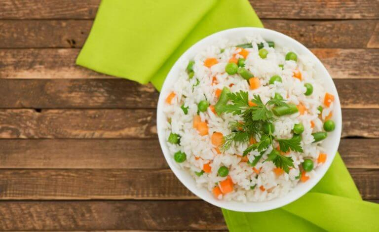 A bowl of rice with vegetables is a great option to get tryptophan