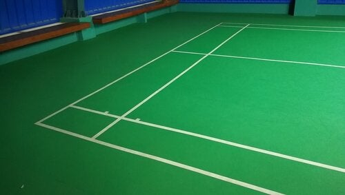 The typlical layout of a court designed to play badminton