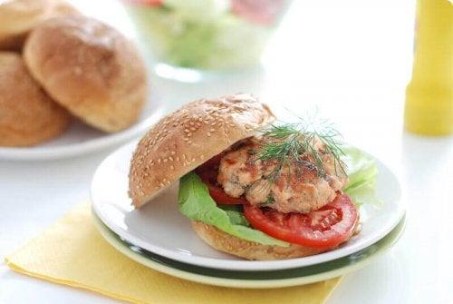 Salmon burgers are a healthy choice.