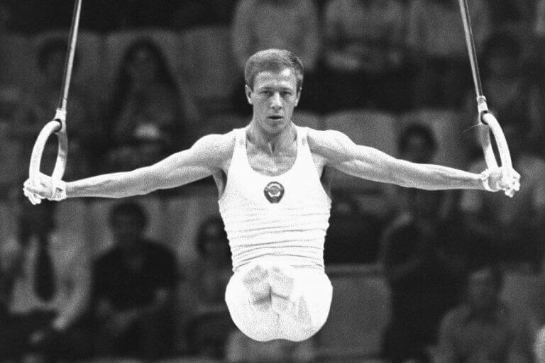 Nikolai Adrianov during a Still Rings Olympic event