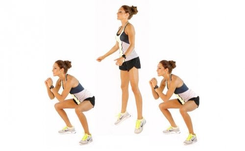 Squat jumps can be an intense exercise.
