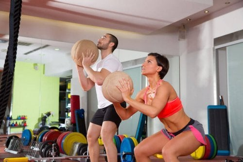 The wall ball exercise puts your arms to work as well.
