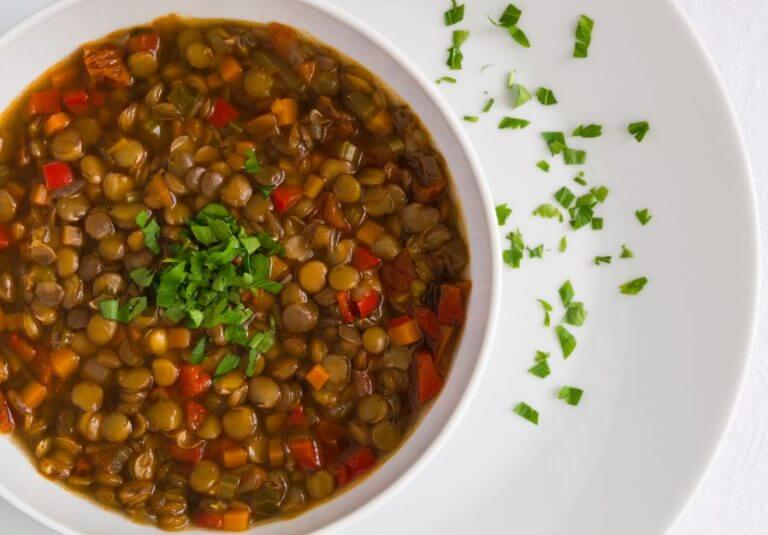 A plate of cooked lentils