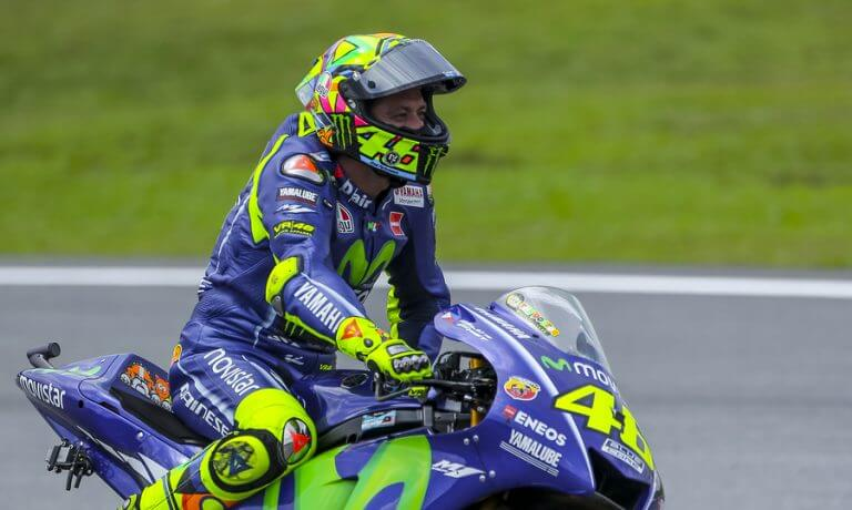Valentino Rossi riding a Yamaha motorcycle during the motor GP