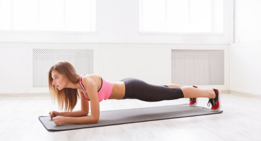 The plank position is an ideal exercise to practice at home.