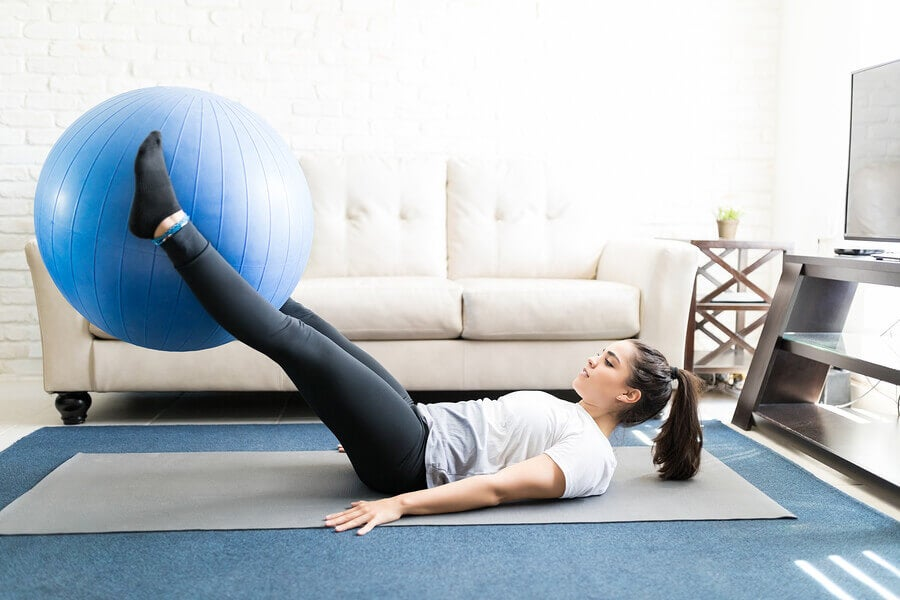Swiss ball leg lifts