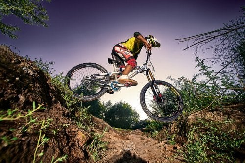 The BMX Race consists of obstacles and curves.
