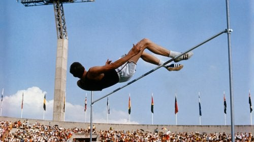 Dick Fosbury made his jump in the 1968 Olympic Games in Mexico.