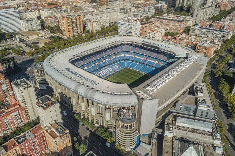 A top view of the Santiago Bernabeu stadium