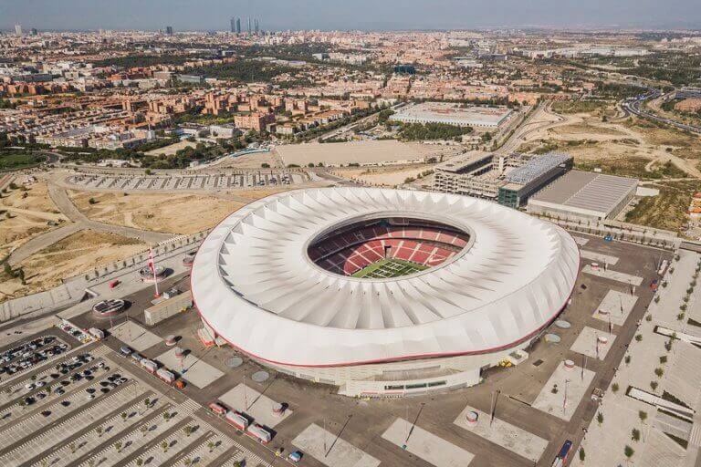 A top view of the Wanda Metropolitano stadium, one of the biggest stadiums in Spain