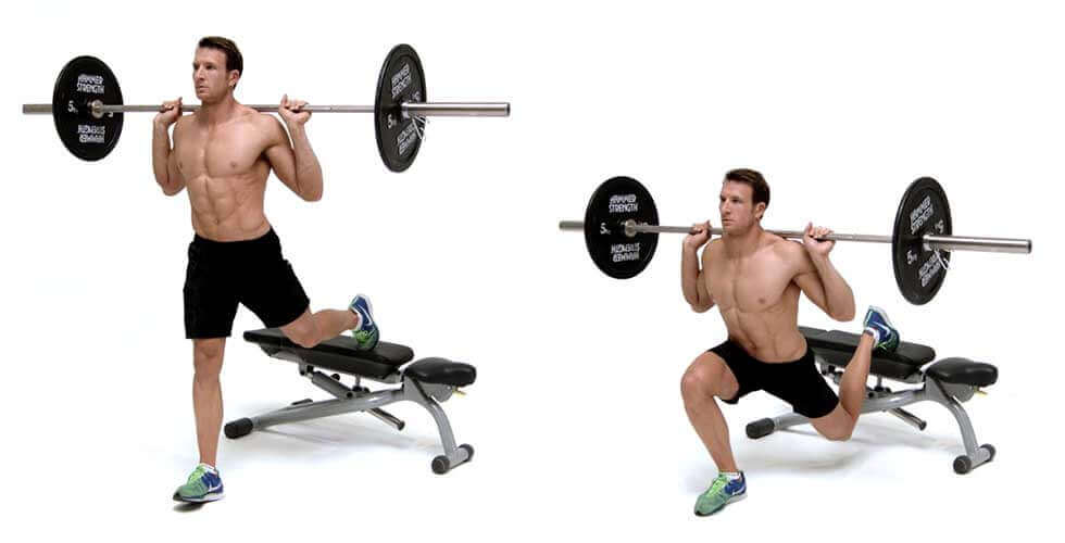 Squats using a barbell