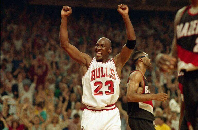 Michael Jordan wearing the Bulls jersey
