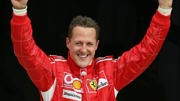 Photo of Michael Schumacher, world champion of auto racing, European athlete described in the text.