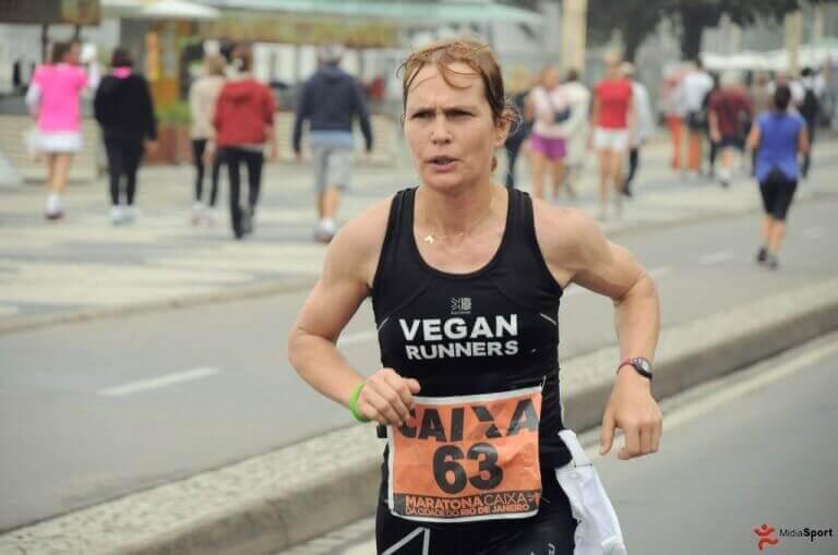 Fiona Oakes running a marathon and representing professional vegan athletes