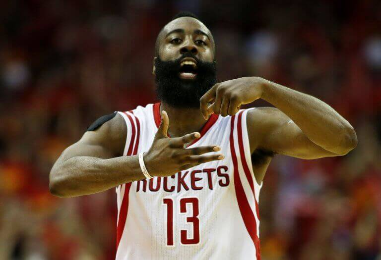 James Harden and his iconic beard during a Rockets game