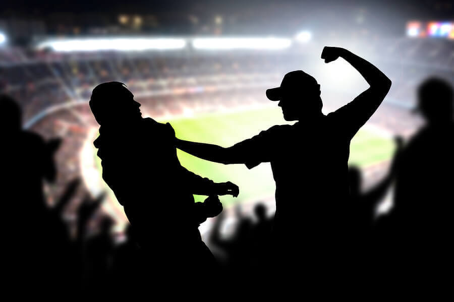 Two men in a fist fight to discuss stadium security