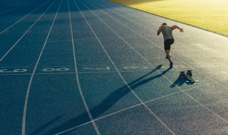 A competitive runner training to improve his strength and endurance