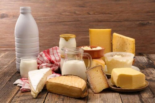 Photo of dairy products to support the text describing diet