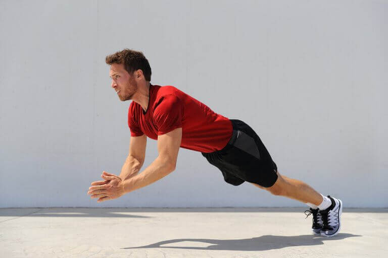 A runner doing different strength training exercises