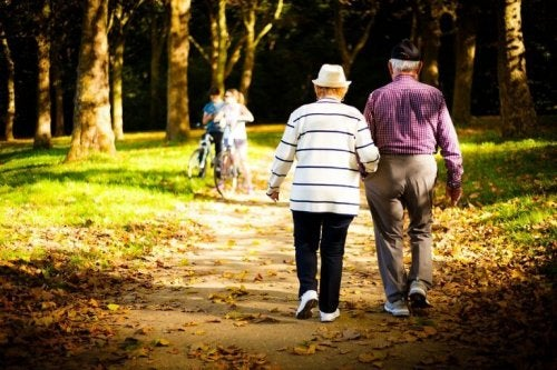An elderly couple taking a walk to support text on walking
