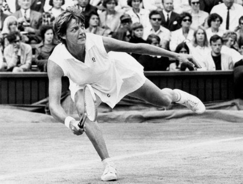 Margaret Court, one of the best women tennis players during a game, supporting the topic of the text