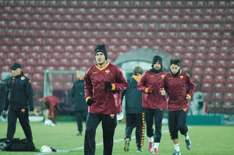 Francesco Totti about to play a match for Roma.