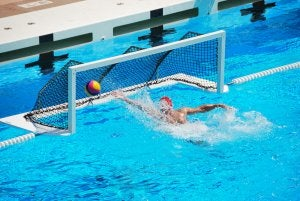 A goal being scored in water polo.