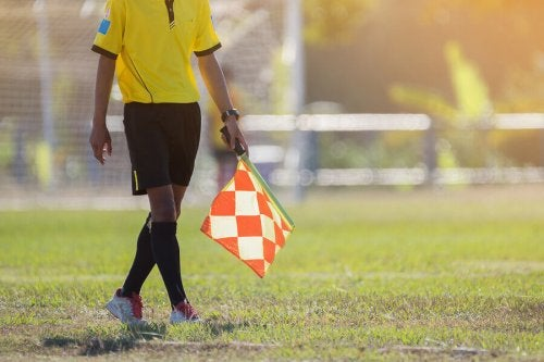 An assistant referee with a flag.