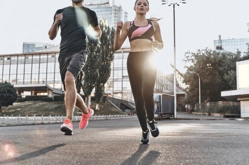 A couple jogging on the pavement which involves muscle tissue.