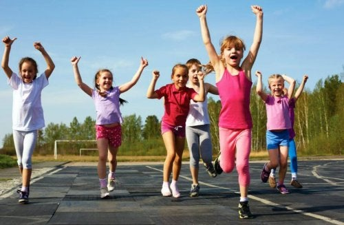 Girls in a sports school running.