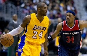 Kobe Bryant playing for the Lakers.