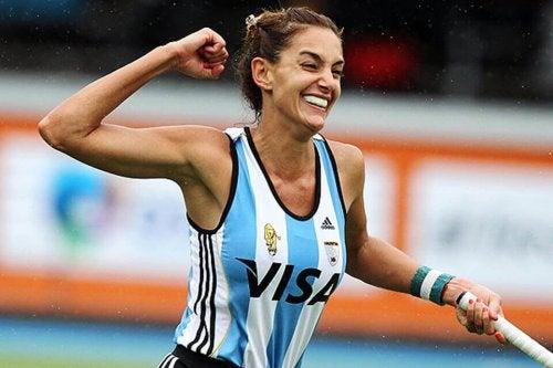 Luciana aymar celebrating a win.