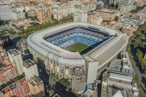 A stadium on a sunny day.