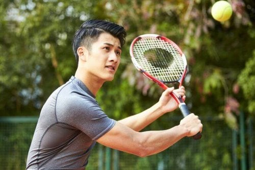 Man playing tennis to support text