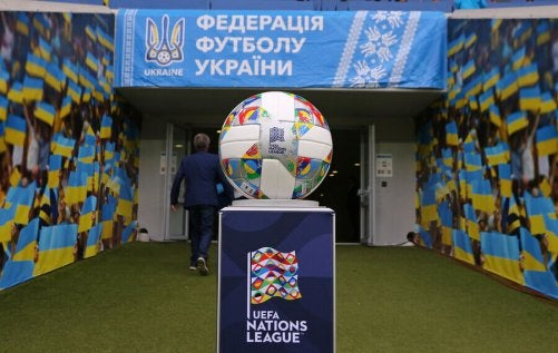 A UEFA ball representing one of the six soccer confederations.
