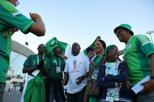 Nigerian fans cheering on their national team.