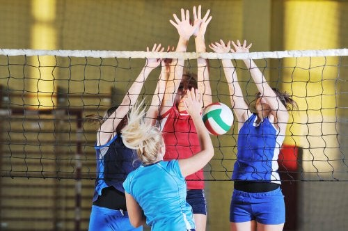 A game of women's volleyball.
