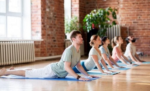 People stretching at a yoga class.