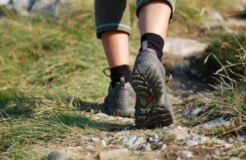 Feet wearing hiking shoes walking on a trail.