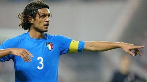 Paolo Maldini wearing the Italian jersey