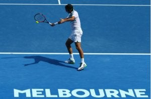A player on a hard court.