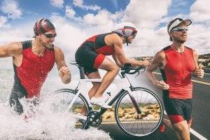 All three parts of a triathlon.
