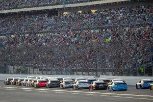 Cars racing at the 24 Hours of Daytona.