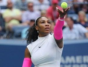 Serena Williams serving.