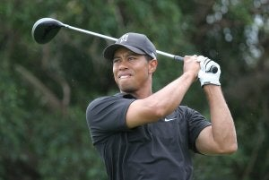 Tiger Woods playing golf.